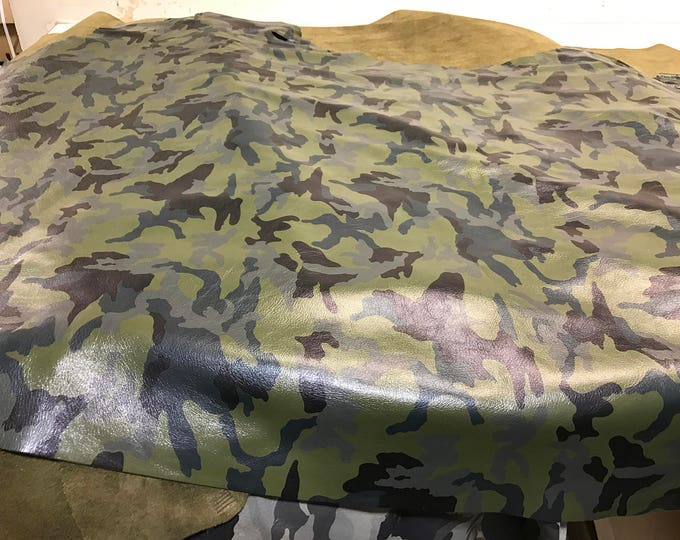 Light Olive Camouflage Cowside Leather - Natural Grain skins with a beautiful soft handfeel