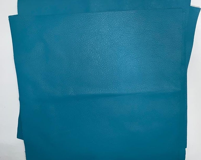 12'' x 12'' Turquoise Cowhide: Soft Natural Pebble Grain Leather 2.5-3 oz. Perfect for Handbags, Shoes, Garments, and Leather Crafts!