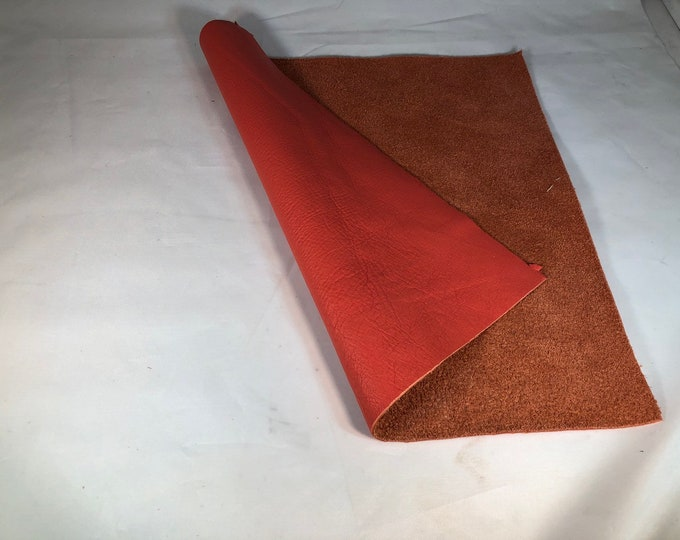 12 x 12 Pieces Pantone Color Of The Year Living Coral Natural Grain Cow Leather 3 oz.  Perfect for Handbags,  Leather Crafts, Earrings, Mocs