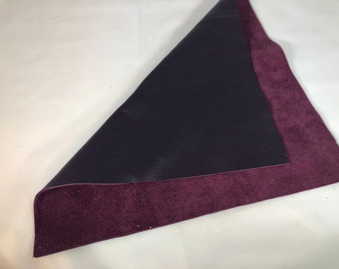 12'' x 12'' Pre Cut Square Grape Purple Cowhide: Soft Natural Pebble Grain Leather 2.5-3 oz.