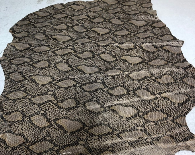 LIMITED OFFERING Tan Double Sided Python Lambskin. Perfect for Handbags, Shoes, Garments, Leather Crafts, Earrings, Jewelry