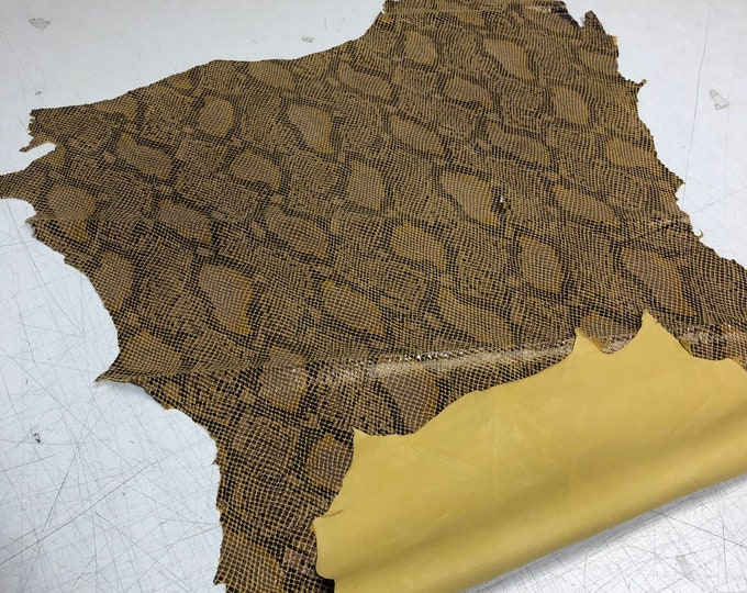 LIMITED OFFERING Yellow Double Sided Python Lambskin. Perfect for Handbags, Shoes, Garments, Leather Crafts, Earrings, Jewelry