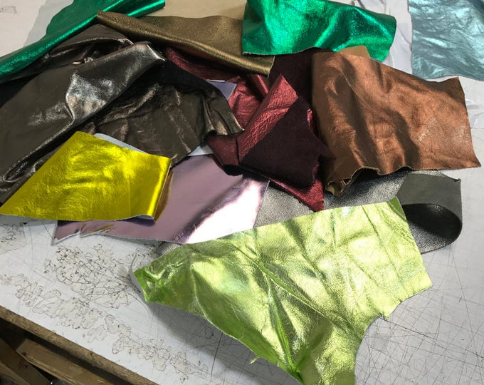 Medium Sized Metallic Leather Scraps + Trimmings: Metallic scrap ONLY, various colors/textures. 3-4 lbs of high quality metallic (12X10X3)
