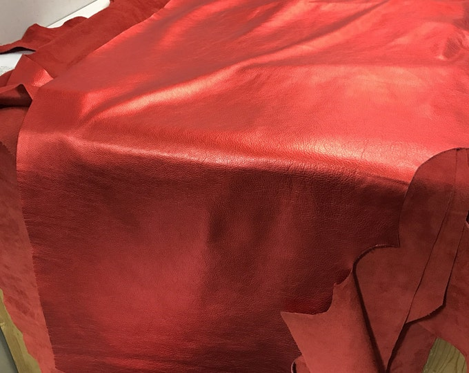 Red Metallic Leather: Natural Grain Cow Leather 2.5-3.0 oz (1.1 - 1.3 mm). Perfect for Handbags, Shoes, Garments, Crafts, Jewelry