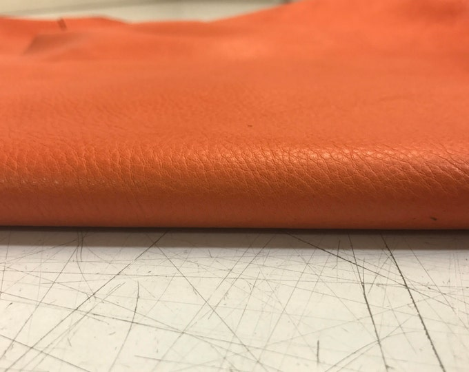 Orange Leather: Natural Grain 2.5-3oz (1.1-1.3mm) Cow Leather for Bags, Shoes, Crafts, Garments