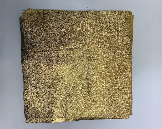 Gold Metallic Leather 12'' by 12'' pieces : Natural Grain Cow Leather 2.5-3.0 oz (1.1 - 1.3 mm). Perfect for Handbags, Crafts, Jewelry