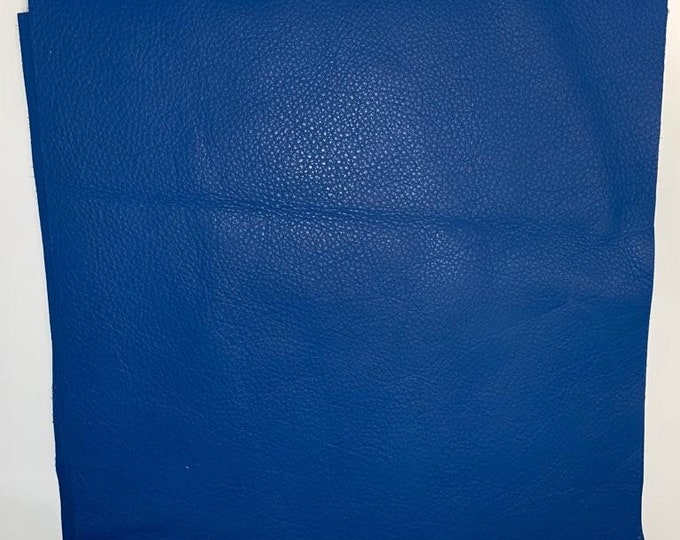 12 x 12 Brilliant Blue Leather- Natural Grain 2.5-3.0 oz Cow Side Leather. Perfect For Shoes, Handbags, Garments, Leather Crafts, Jewelry