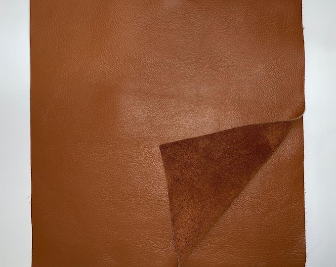 12'' x 12'' Cognac Cowhide: Soft Natural Pebble Grain Leather 2.5-3 oz. Perfect for Handbags, Shoes, Garments, and Leather Crafts!