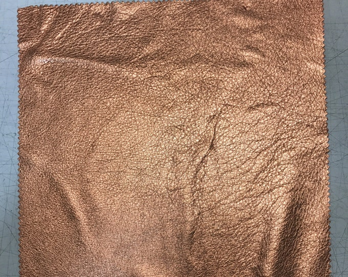 Copper Metallic Leather: Natural Grain Cow Leather 2.5-3.0 oz (1.1 - 1.3 mm). Perfect for Handbags, Shoes, Garments, Leather Crafts, Jewelry