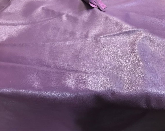 12'' x 12'' Pre Cut Square Grape Purple Cowhide: Soft Natural Pebble Grain Leather 2.5-3 oz.