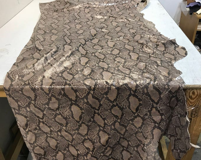 LIMITED OFFERING: Stone Python Cow Leather (1.1-1.3 mm) Perfect for Handbags,Shoes, Garments, Accessories, Leather Crafts, Seating, Notebook