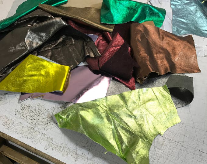 Extra Large Metallic Leather Scrap Pack: Cuttings and Trimmings (4-5 lbs) of mixed metallic leathers with various colors and designs