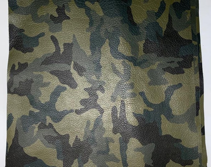"12"" x 12"" Army Green Camouflage Cow Leather. Perfect for Handbags, Shoes, Garments, Accessories, Book binding, and Leather Crafts"