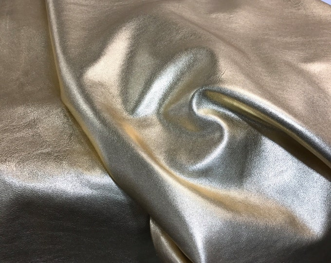 Gold Metallic Leather: Natural Grain Cow Leather 2.5-3.0 oz (1.1 - 1.3 mm). Perfect for Handbags, Shoes, Garments, Leather Crafts, Jewelry