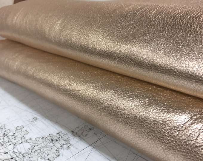 Rose Gold (PEACH) Metallic Cow Leather (1.1-1.3 mm) 3 oz Cow Leather. Perfect for Handbags, Shoes, Garments, Accessories, and Leather Crafts