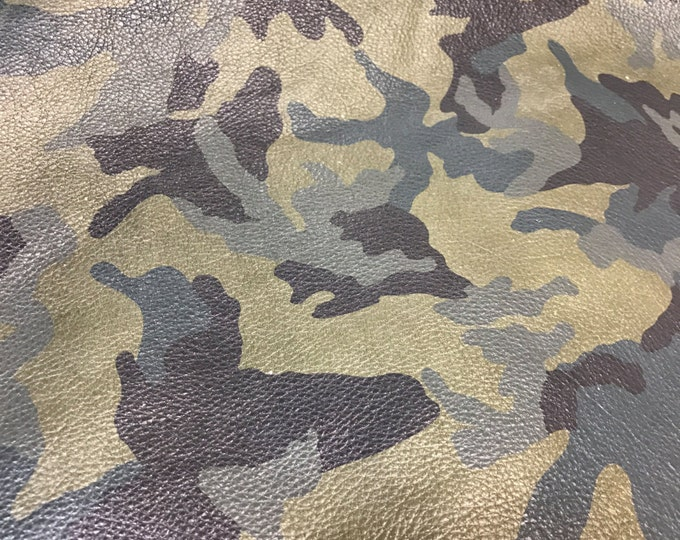 Camouflage Leather: Army Green Camo Cowhide  - Natural Grain skins with beautiful handfeel