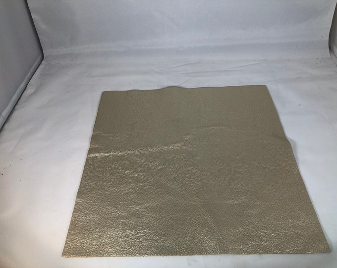 """12"""" X 12"""" Platinum Metallic Cow Leather- 3 oz (1.1-1.3 mm) Perfect for Handbags, Shoes, Garments, Moccasins, and Leather Crafts"""