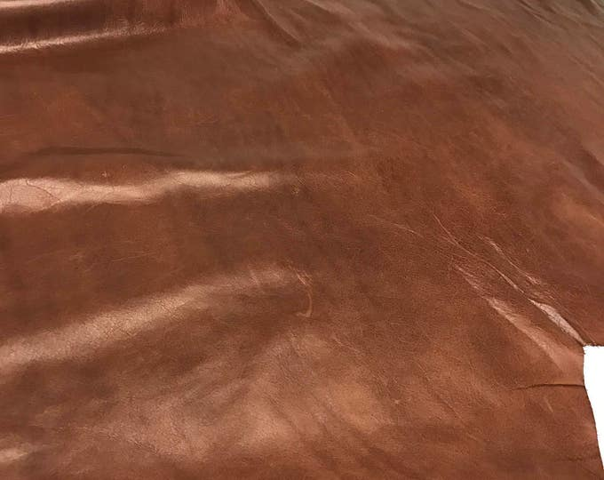 Brandy Distressed Cow Leather- Natural Grain Distressed Fine Cow Leather. Great for Handbags, Garments, Shoes, Accessories and Leather Craft