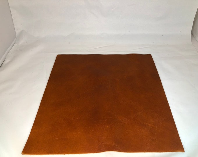 12'' x 12'' Distressed Whiskey Cowhide: Soft Natural Pebble Grain Leather 2.5-3 oz. Perfect for Handbags, Accesories, and Leather Crafts!