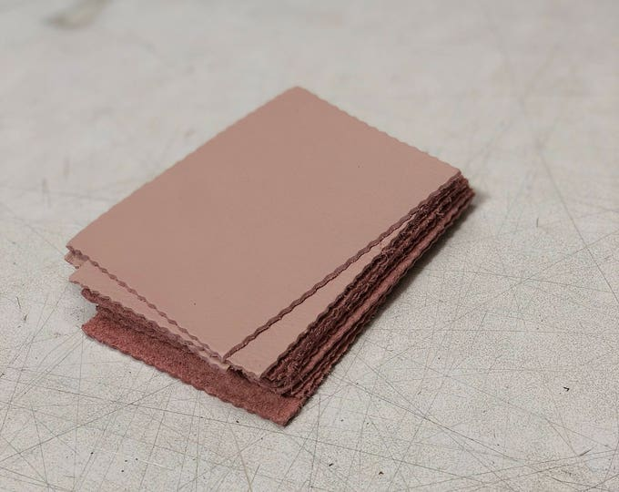 Pink Cow Leather Pieces 3.25 inches x 4.5 inches Piece. Perfect for DIY Crafts, and Small Leather Goods