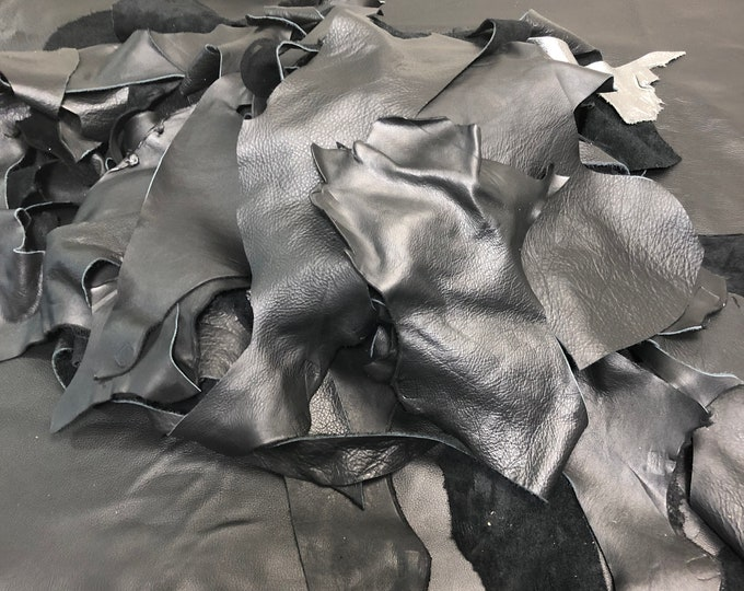 EXTRA LARGE Black Full Grain Leather Scraps and Trimmings: 5 lb of scrap include various finishes/prints in Jet Black cowhide.