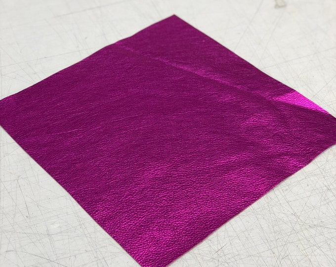 12 x 12 Hot Pink Metallic Natural Grain Cow Leather 2.5-3.0 oz (1.1 - 1.3 mm). Perfect for Handbags, Shoes, Garments, Crafts, Jewelry,