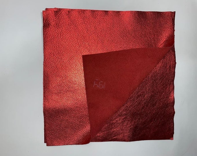 Red Metallic Leather 12'' by 12'' pieces: Natural Grain Cow 2.5-3.0 oz (1.1 - 1.3 mm). Perfect for Handbags, Crafts, Jewelry