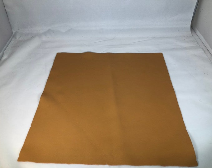 12'' x 12'' Apricot Cowhide: Soft Natural Pebble Grain Leather 2.5-3 oz. Perfect for Handbags, Shoes, Garments, and Leather Crafts!