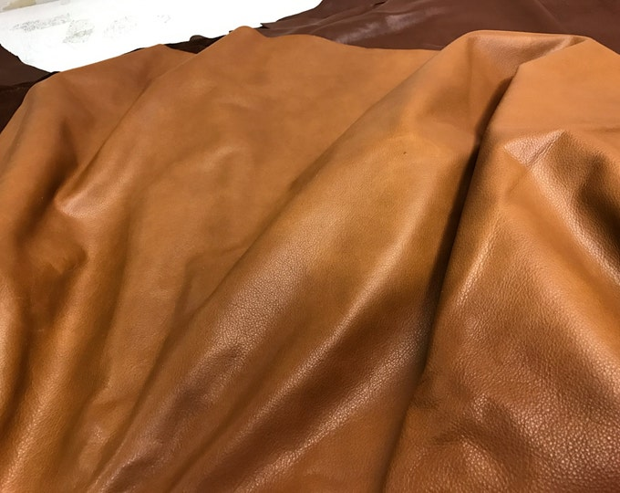 """12"""" X 12""""Rust Brown Semi-Naked Leather: Cow Skins Natural Grain 2.5 oz Cow Leather Perfect for Handbags, Shoes, and Leather Crafts"""