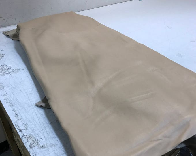 Beige Natural Grain Cow Leather- Sand Color Finished Cow Leather. Perfect for Handbags, Shoes, Garments, Accessories, Leather Crafts,