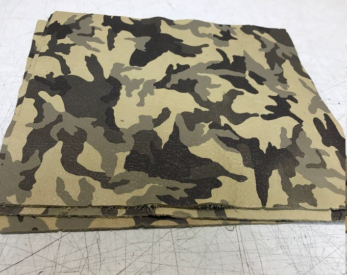 "12"" x 12"" Beige Camouflage Cowhide. Perfect for Handbags, Shoes, Garments, Accessories, Book binding, and Leather Crafts"