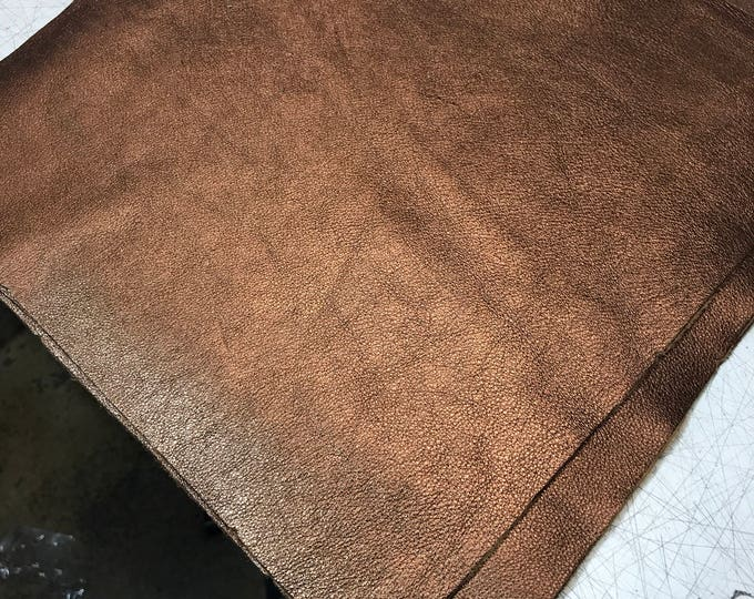 12 x 12 pieces Bronze Metallic Leather: Natural Pebble Grain Cow Leather. Perfect for Handbags, Shoes, Garments, Crafts, Jewelry