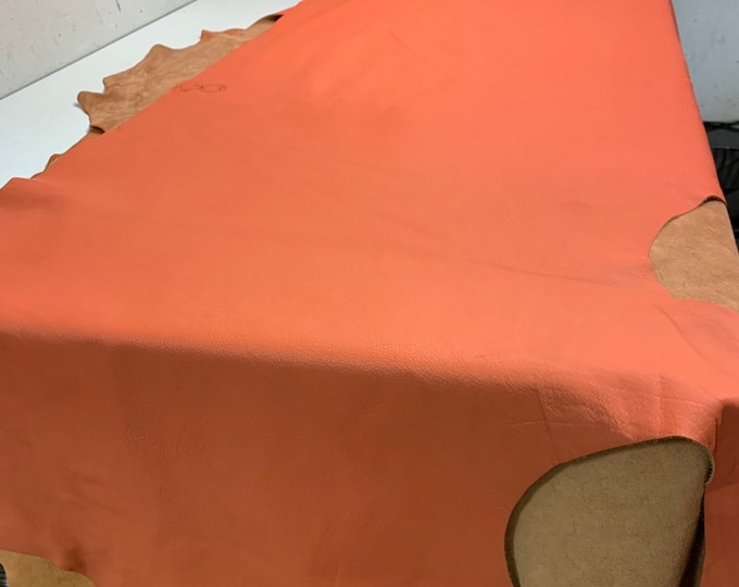 Pantone Color Of The Year Living Coral Natural Grain Cow Leather 3 oz.  Perfect for Handbags,  Leather Crafts, Earrings, Mocs