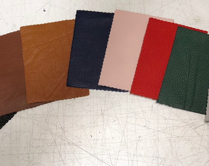 8 Leather Pieces (1 of each) VARIETY PACK 3.25 inches x 4.5 inches Piece. Perfect for DIY Crafts, and Small Leather Goods