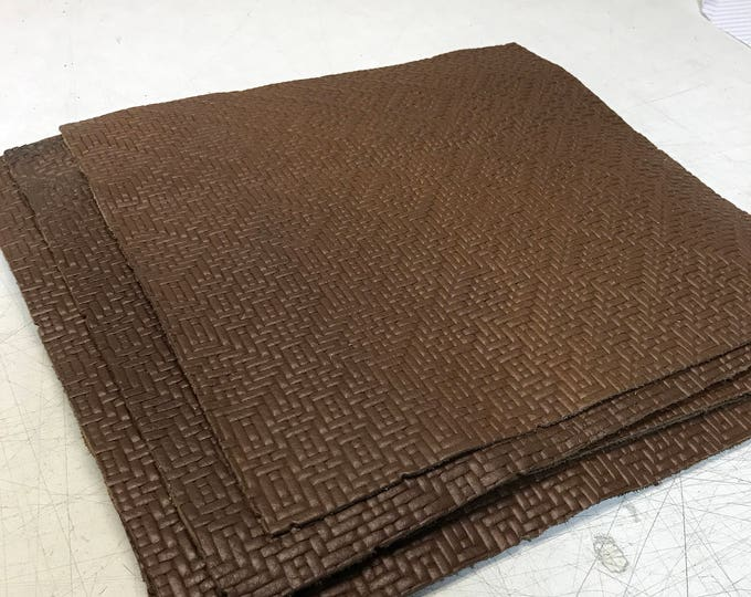 "12"" X 12"" Brown Weave Embossed Leather Pieces:  2.5-3.0 oz (1.1 - 1.3 mm) Cow Side Leather PERFECT for Leather Crafts, Handbags"