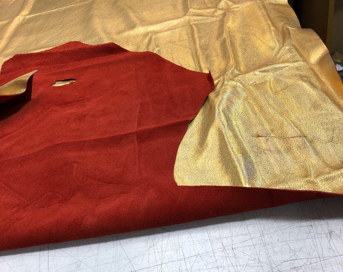 LIMITED OFFERING: Gold Iridescent Skin with Red Backing. Only 1 Left!. Perfect for Handbags, Earrings, Mocassins, DIY, Shoes, Leather Crafts