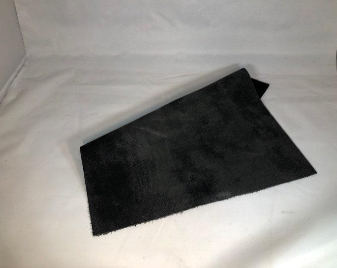 "12"" x 12"" Distressed Metallic: Black/Graphite (1.1-1.3mm) Distressed Metallic Nubuck - Perfect for Handbags, Shoes, Garments, Accessories"