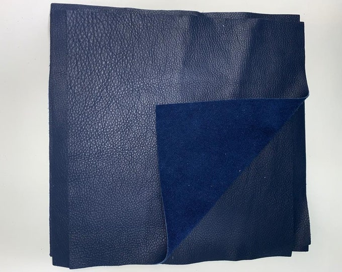 12'' x 12'' Navy Cowhide: Soft Natural Pebble Grain Leather 2.5-3 oz. Perfect for Handbags, Shoes, Garments, and Leather Crafts!