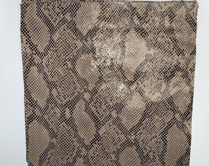 LIMITED OFFERING: Stone Glazed Python 12 x 12 Pieces. Perfect for Handbags, Shoes, Garments, Accessories, Leather Crafts, Jewelry, Earrings