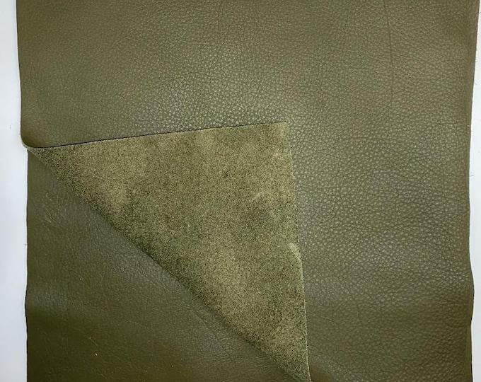 "12"" x 12"" Olive Cowhide Square Cuts: Natural Pebble Grain 3 oz Leather"