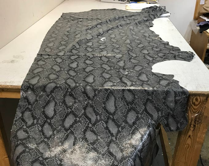 LIMITED OFFERING: Grey Python Cow Leather (1.1-1.3 mm) Perfect for Handbags,Shoes, Garments, Accessories, Leather Crafts, Seating, Notebooks