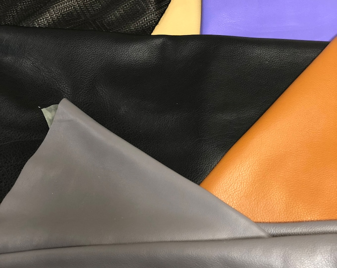 VARIETY PACK! 3 Skins of Miscellaneuous Colors in Cow Leather. Perfect for Leather Crafts, Accessories, Handbags, Shoes, and Garments