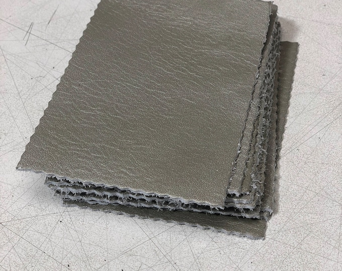 Silver Cow Leather Pieces 3.25 inches x 4.5 inches Piece. Perfect for DIY Crafts, and Small Leather Goods
