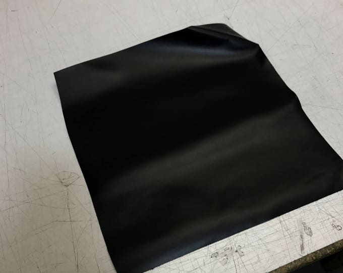 12'' x 12'' Black Smooth Cowhide: Soft Natural Pebble Grain Leather 2.5-3 oz. Perfect for Handbags, Shoes, Garments, and Leather Crafts!