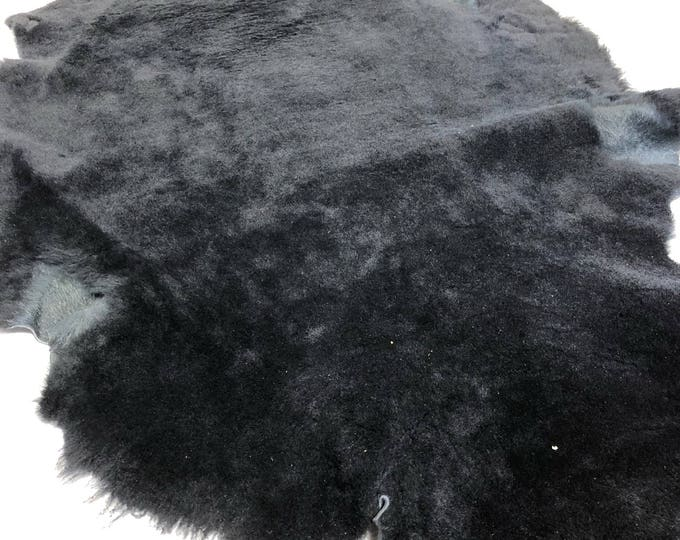 LIMITED OFFERING: Black Shearling Leather. About 7 SF. Perfect for Garments, Accessories, Leather Crafts, Handbags