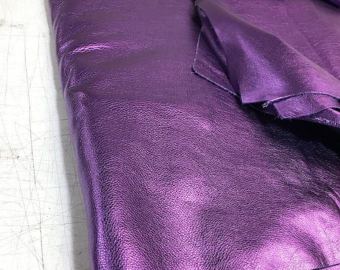 Purple Metallic Cow Leather (1.1-1.3 mm) 3 oz Cow Leather. Perfect for Handbags, Shoes, Garments, Accessories, and Leather Crafts