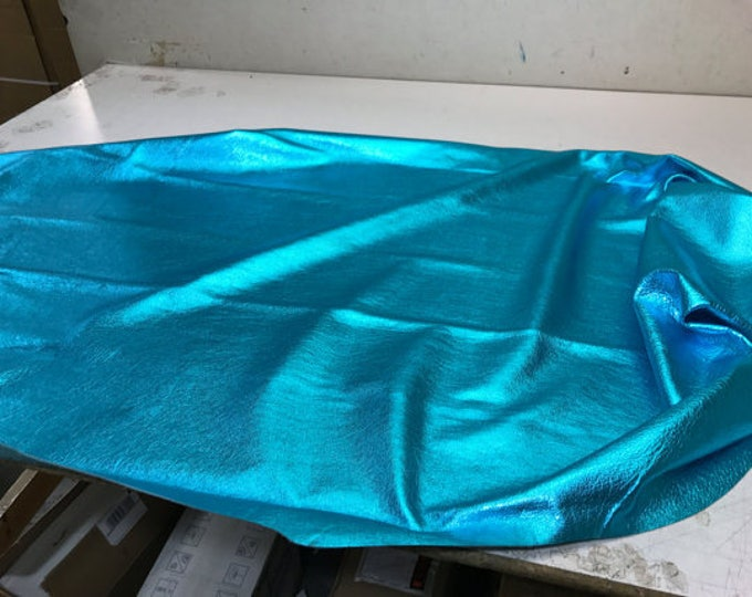 Turquoise Metallic Leather: Natural Grain Cow Leather 2.5-3.0 oz (1.1 - 1.3 mm). Perfect for Handbags, Crafts, Jewelry