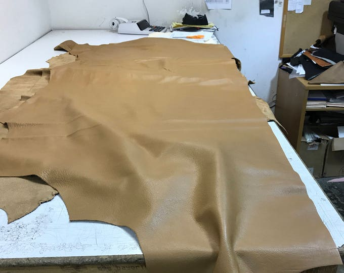 LIMITED OFFERING: Tan Natural Grain Cow Leather (3 ounces). Perfect for Handbags, Shoes, Garments, Accessories, Leather Crafts, Book Binding
