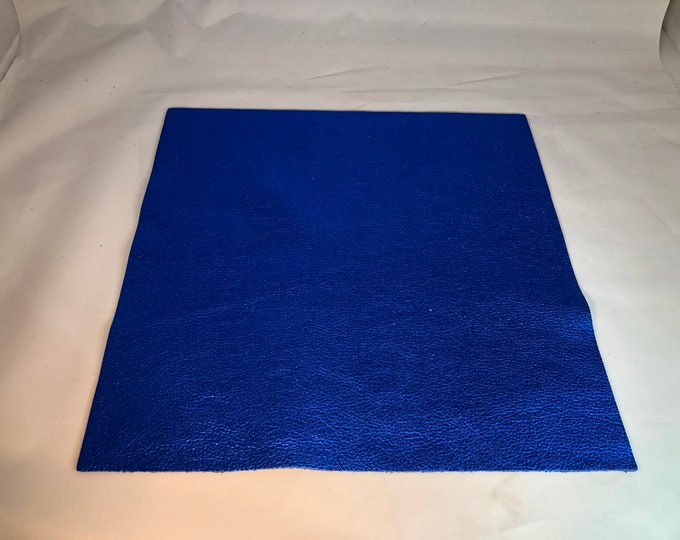 """12"""" x 12"""" Royal Blue Metallic Cowhide Square Cuts (1.1-1.3 mm in thickness)"""