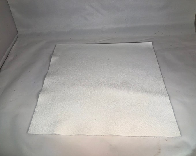 12'' x 12'' White Cowhide: Soft Natural Pebble Grain Leather 2.5-3 oz. Perfect for Handbags, Shoes, Garments, and Leather Crafts!
